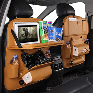 Car Seat Organizer PU Leather Storage Bag With Trash Can Foldable Dining Table Car Seat Storage Bag Car Accessories