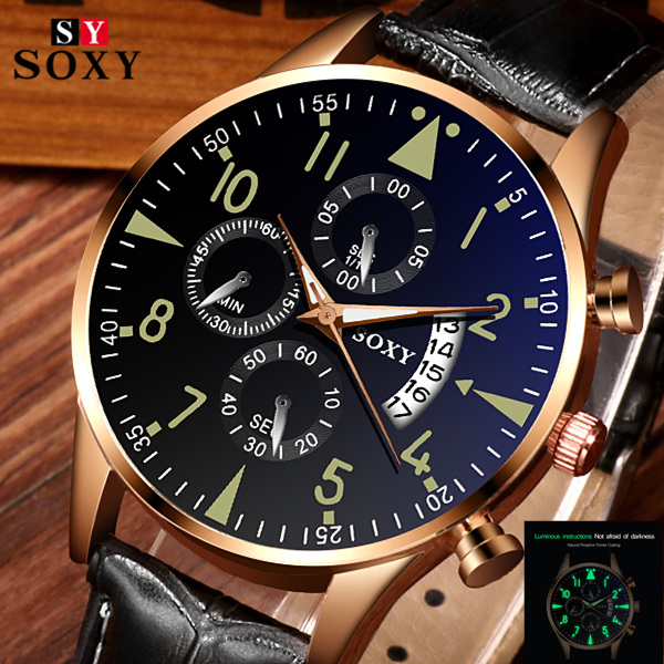 Mens Watch Clock Relogio Masculino SOXY Men's Watches Classic Gold Calendar Quartz Men Quartz Wristwatch Luminous Saati Hours