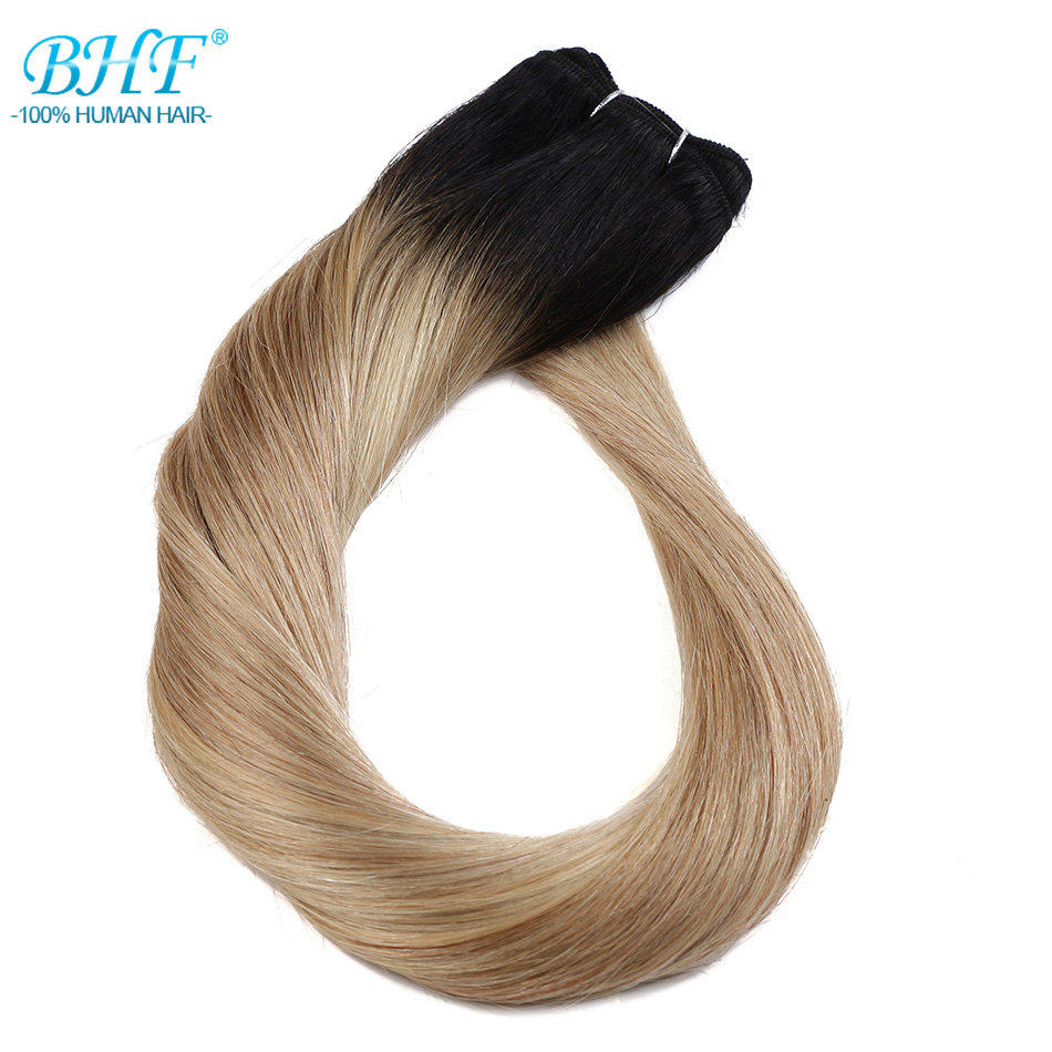 BHF Human Hair Weft Straight 100g Brazilian Machine Made Remy Hair Weave Bundles Blonde Real 100% Human Hair Extensions