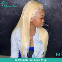Monstar Full Lace Wig 613 Platinum Blonde Color Brazilian Straight Glueless 8   28 inch Full Lace Human Hair Wigs with Baby Hair