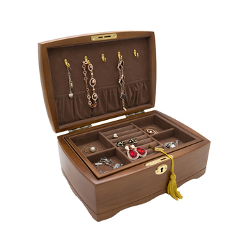 Wooden Jewelry Organizer Box With With Lock Double Layer Jewellery Storage Cases