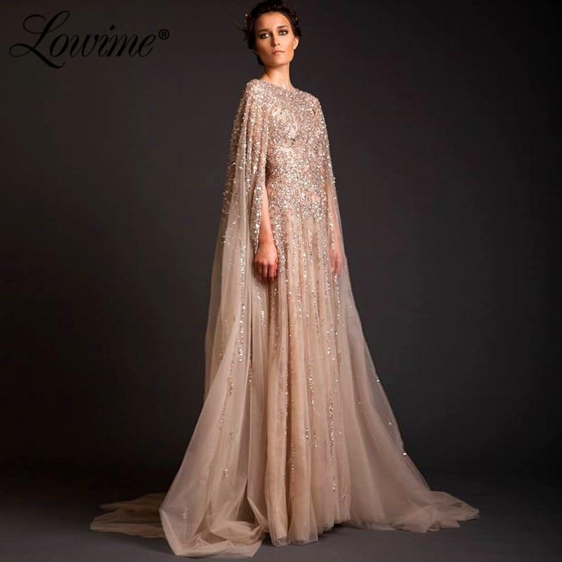 Saudi Arabia Champagne   Evening     Dress   Beaded Crystal Dubai Design Lebanon Middle East Women Prom   Dresses   Formal Kaftan Party Gown