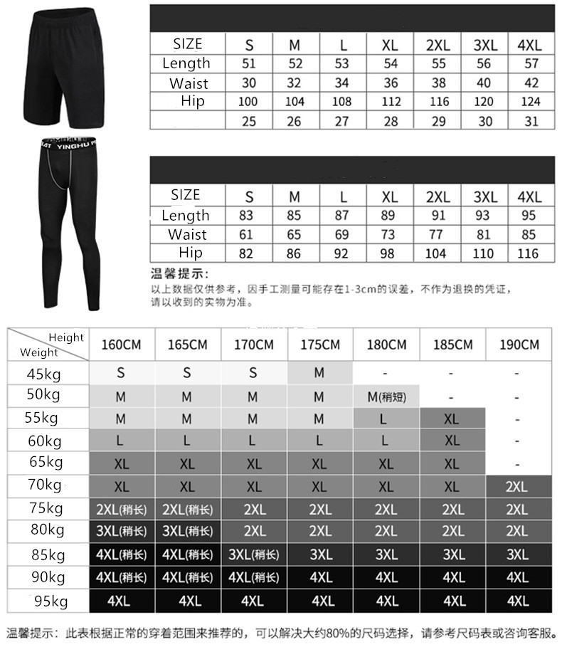 Foto of size table men's 5 pcs compressions clothes for gym. Men's 5 pcs compression tracksuit sports