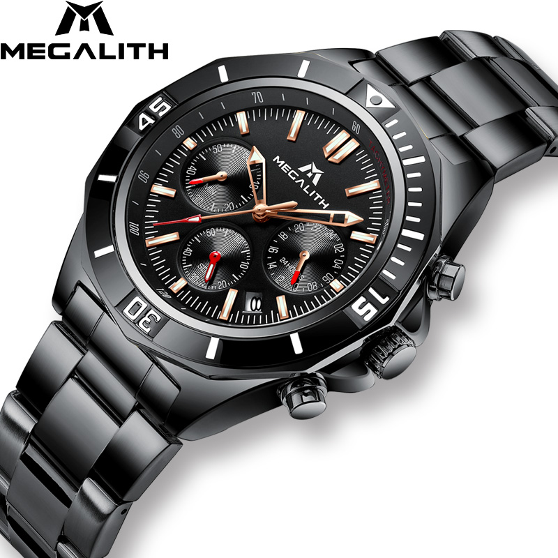 MEGALITH New Luxury Watches Men Sport Waterproof Chronograph Stainless Steel Strap Quartz WristWatch Relojes Hombre