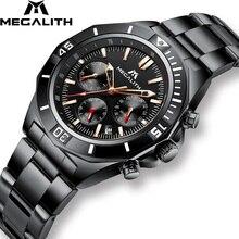 купить MEGALITH New Luxury Watches Men Sport Waterproof Chronograph Watches Stainless Steel Strap Quartz WristWatch Men Relojes Hombre дешево