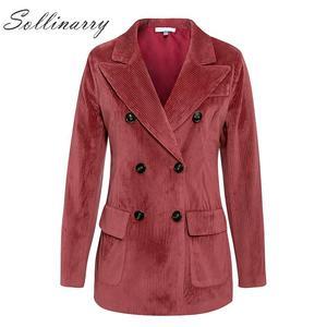 Image 3 - Sollinarry, двубортные модные пальто, куртки для женщин, осень, зима, красные вельветовые куртки, элегантные, женские, OL, тонкая верхняя одежда, Ретро стиль