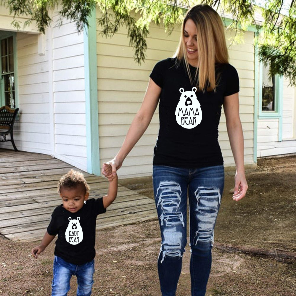 Mama Bear And Baby Bear Set Mommy And Me Outfit Short Sleeve Family Matching Mommy Daughter And Son Summer T-shirt Fashion