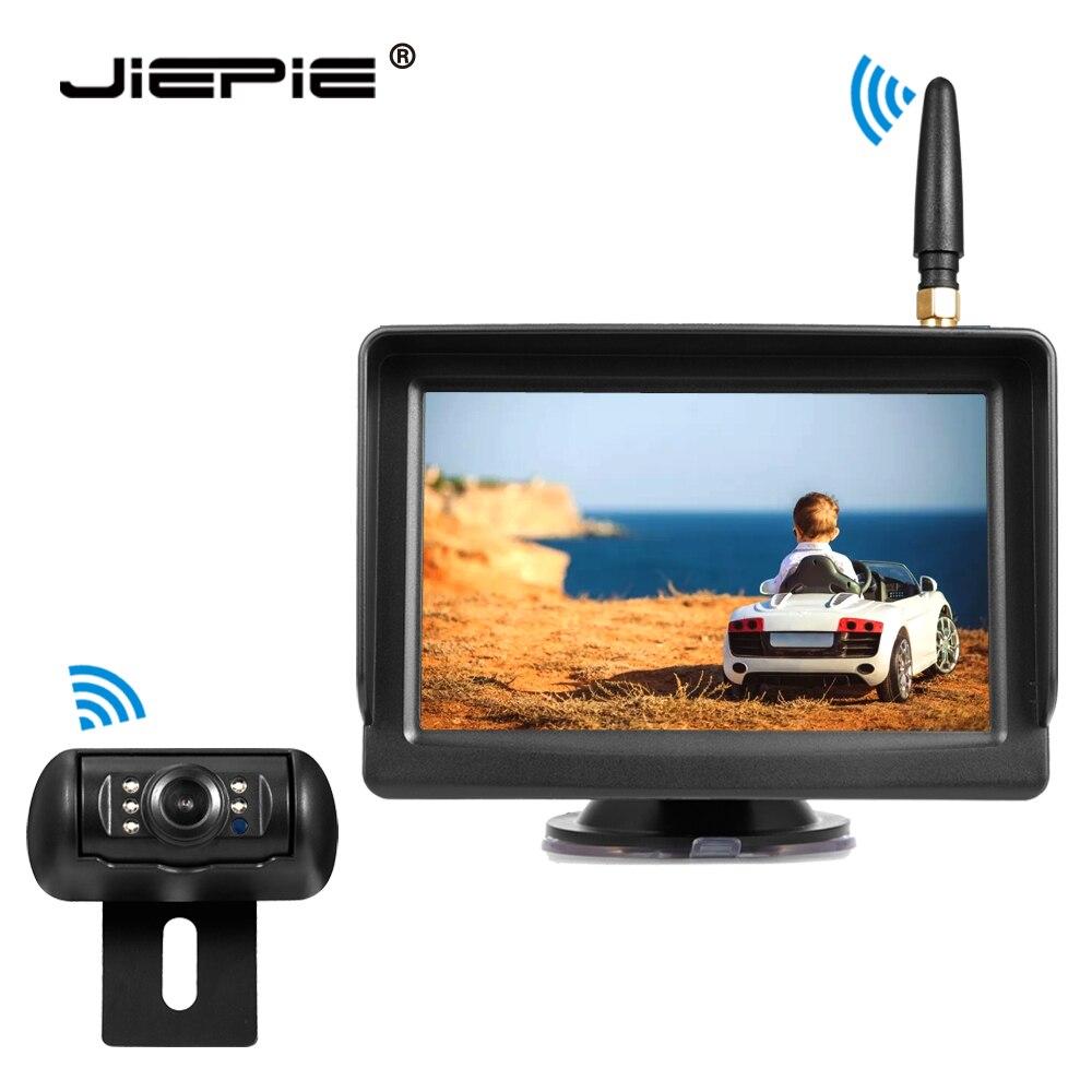 Беспроводная система камеры заднего вида JIEPIE, 12-24 В, 5 дюймов, беспроводной автомобильный монитор и беспроводная камера заднего вида для ном...