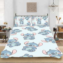 Stitch Pattern Fashion Cartoon Full-King Size Bedding set Bedclothes Include Duvet Cover Pillowcase Print Home Textile Bed Linen
