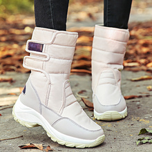 Snow boots women Warm Winter shoes for women Waterproof Non slip Soft Velvet female boots Mid calf Platform Hook and loop snow boots for kids winter shoes rubber boots waterproof unisex mid calf hook