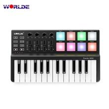 Hot WORLDE Panda MIDI Keyboard MIDI controller and Drum Pad MINI 25-Key Ultra-Portable USB MIDI Keyboard Controller 4 styles