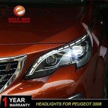تصفيف السيارة رئيس مصباح الحال بالنسبة لبيجو 3008 2017 المصابيح الأمامية LED المصباح DRL عدسة مزدوجة شعاع ثنائية زينون HID اكسسوارات السيارات
