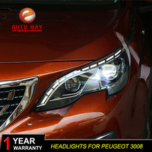 Car Styling Head Lamp case for Peugeot 3008 2017 Headlights LED Headlight DRL Lens Double Beam Bi Xenon HID Car Accessorie