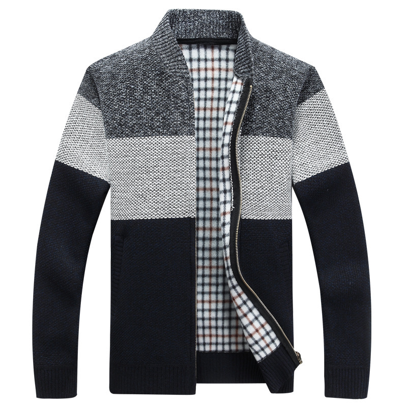 Winter Fashion Patchwork Men Knitted Jackets Thick Comfy Long Sleeve Warm Stand Collar Casual tid Sweater Coat кардиган мужской