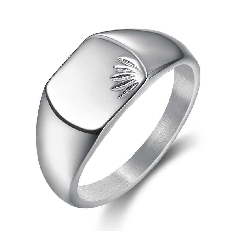 Anillo de sello de hoja de arce cuadrado hombres Color plata titanio Acero inoxidable anillos masculinos joyería banda Punk Hip DCR098