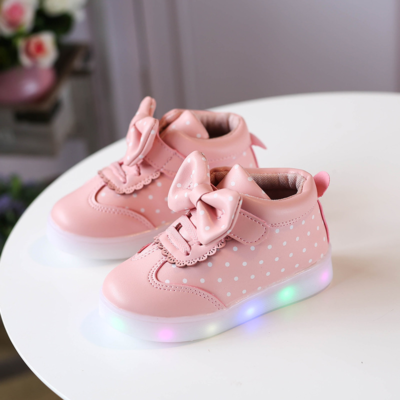Fashion Dot Bow Lighted Toddler Slip-On Sneakers Baby Girl Light Shoe For LED 2019 New Kids Autumn Shoes 1 2 3 4 5 6 Year Old