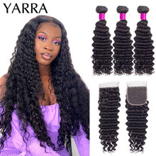 Brazilian Deep Wave Human Hair Bundles with Closure Pre Plucked 4X4 Lace Closure Deep Wave 3 Bundles With Closure Remy Yarra