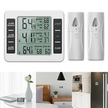 ثلاجة ميزان الحرارة LCD الرقمية الفريزر ميزان الحرارة مع رصد درجة الحرارة في الأماكن المغلقة 2 أجهزة الاستشعار اللاسلكية الثلاجة إنذار مسموع
