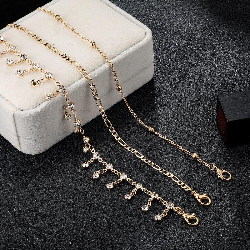 Bohemian Ankle Bracelets Set Multilayer Beads Rhinestone Tassel Pendant Charm Bracelets Women Anklet Foot Jewelry Gift 3Pcs