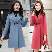 Korean Autumn and Winter Slim Woolen Coat Women Clothing Womens Winter Jackets and Coats Plus Size Streetwear Coral Red Green