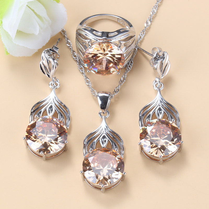 Elegant Women Fashion Round Jewelry Sets Silver 925 Champagne Cubic Zirconia Stud Earrings And Necklace Sets For Women Gift