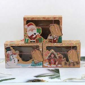 3/6/12Pcs/Pack Christmas Cookie Boxes Bakery Gift Boxes European New Style Kraft Paper Box Kraft Paper Large Christmas Candy Box