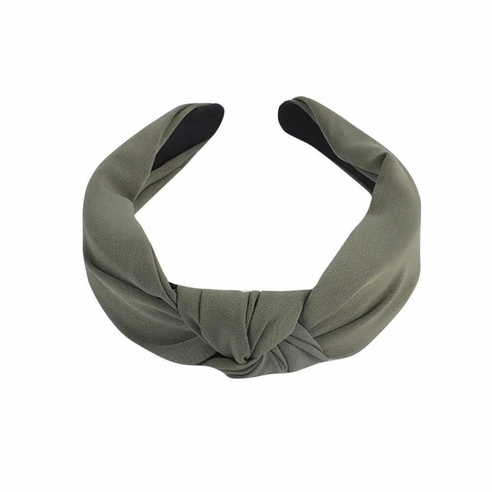 Simpul Cross Tie Solid 1 PC Fashion Rambut Band Rambut Band Rajutan Rib Gadis Busur Hoop Aksesoris Rambut Beludru TWIST Ikat Kepala # YL5