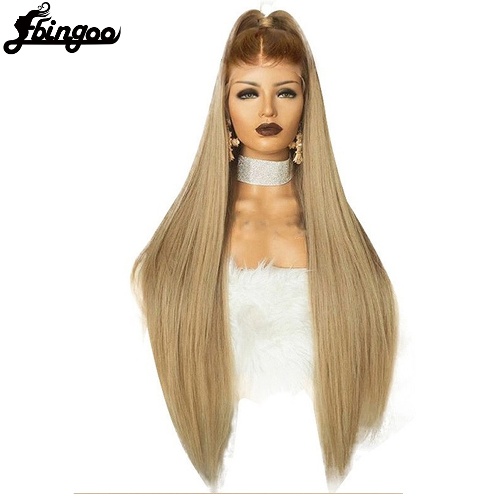 Ebingoo High Temperature Fiber Peruca Free Part Long Straight Hair Wigs Brown Roots Ombre Blonde Women Synthetic Lace Front Wig