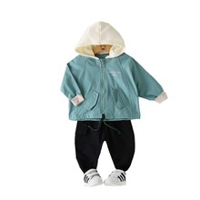 Children Autumn Clothes Kid Boys Girls Letter Cartoon Dinosaur Zipper Hooded Jacket Pants 2Pcs/sets Baby Infant Casual Tracksuit kid clothes sets children winter autumn tracksuit thick jacket hoodie pants for boys girls warm suit set in stock