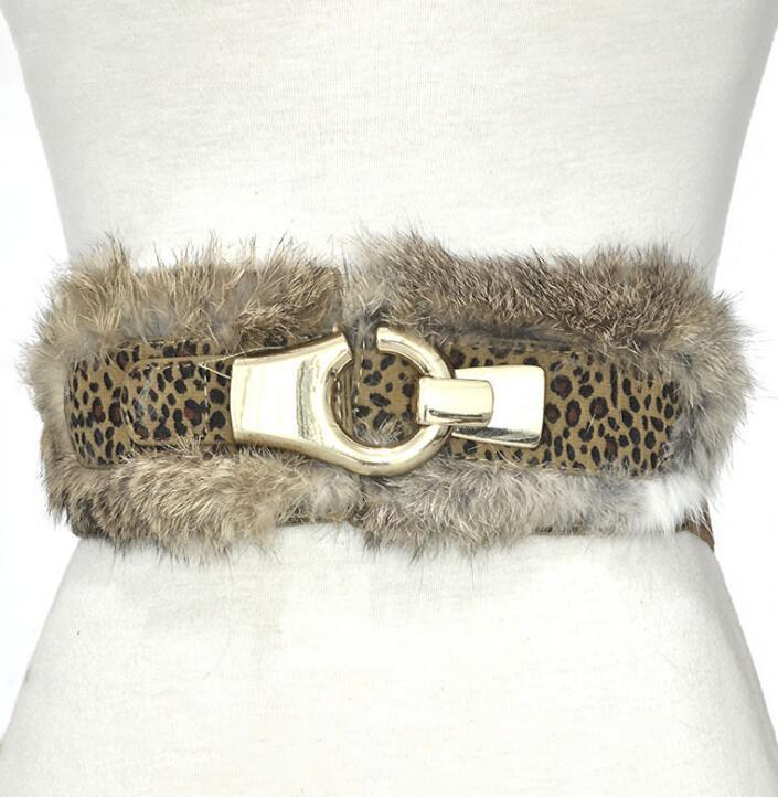 Women's Runway Fashion Rabbit Fur Elastic Cummerbunds Female Dress Corsets Waistband Belts Decoration Wide Belt R2262