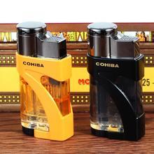COHIBA encendedor de cigarrillos a prueba de viento, encendedor de cigarrillos a Gas y butano con 2 llamas de Metal y plástico