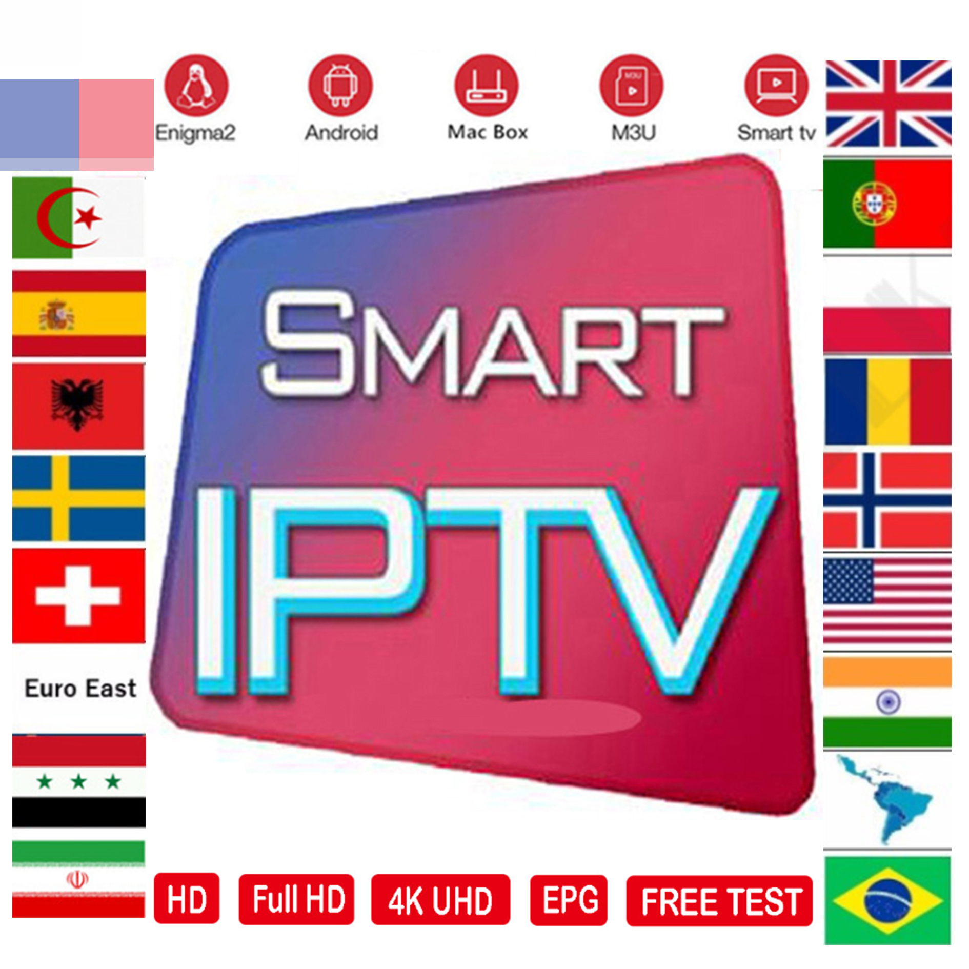 IPTV M3U Subscription 7500+ Andorid TV Box Portugal  Arabic Spain Premium For Android Box Enigma2 Ssmart TV  Box