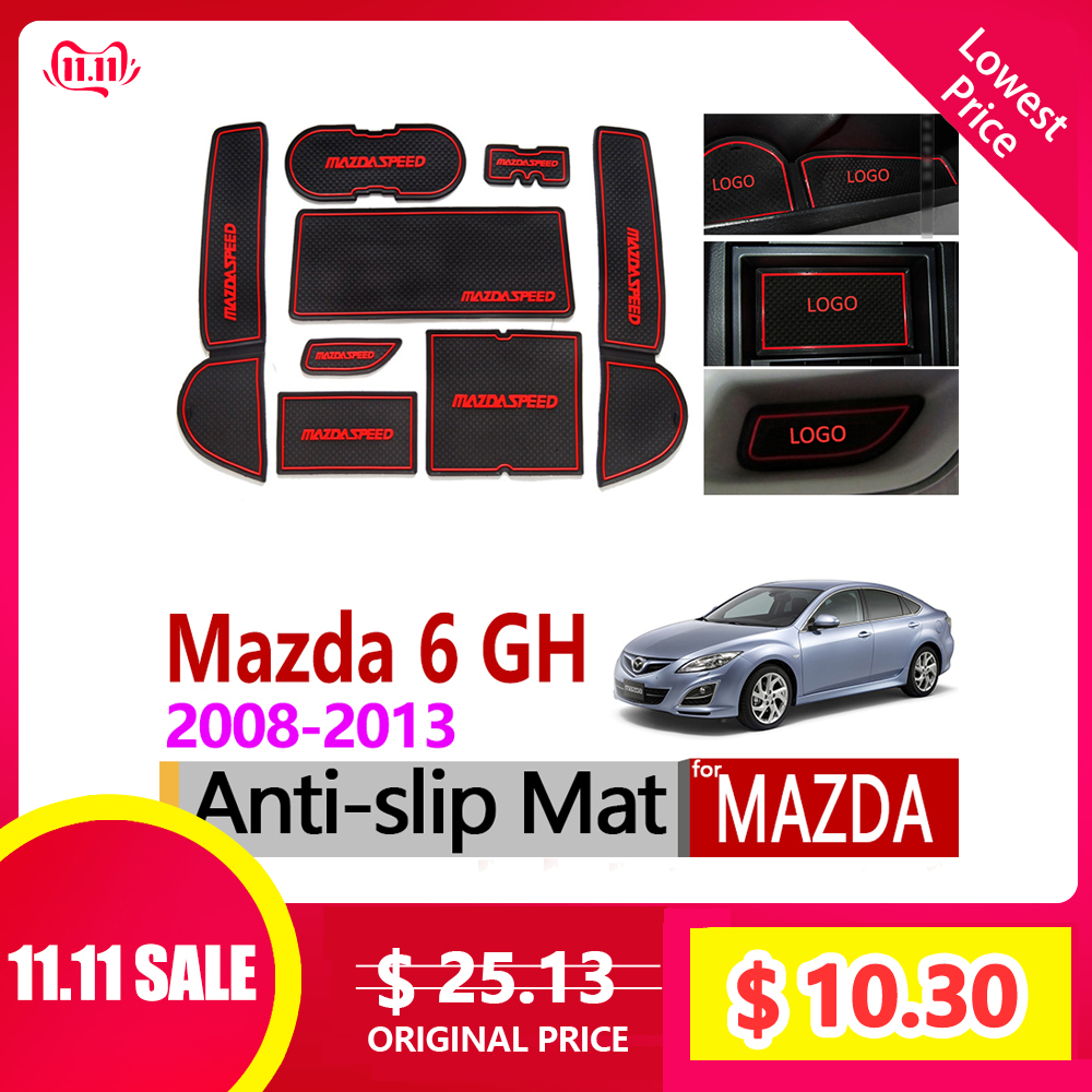 For Mazda 6 2008~2013 GH Anti-Slip Rubber Cup Mats Gate Slot Mat 2009 2010 2011 2012 Sedan Wagon Accessories Sticker Car Styling