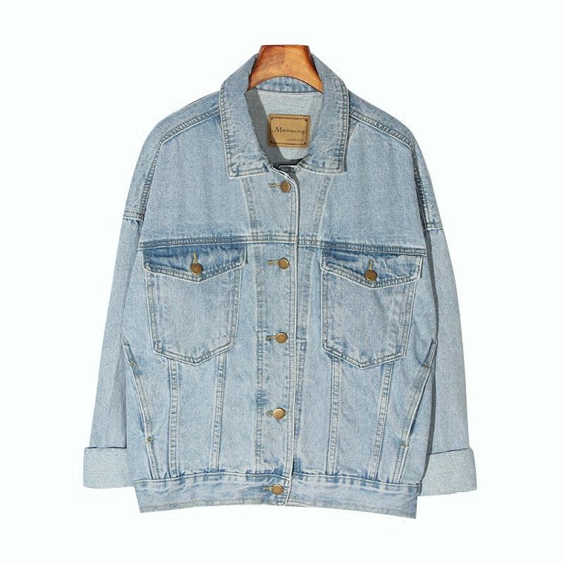 2020 New Vintage Women Jacket Autumn Winter Oversize Denim Jackets Washed Blue Jeans Coat Turn-down Collar Outwear Bomber Jacket
