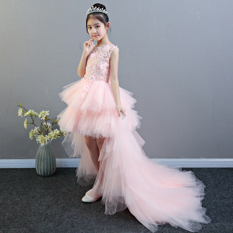 Pink Princess Dress Girls Puffy Yarn Child Model Catwalks Tailing Evening Gown Host Piano Costume Spring