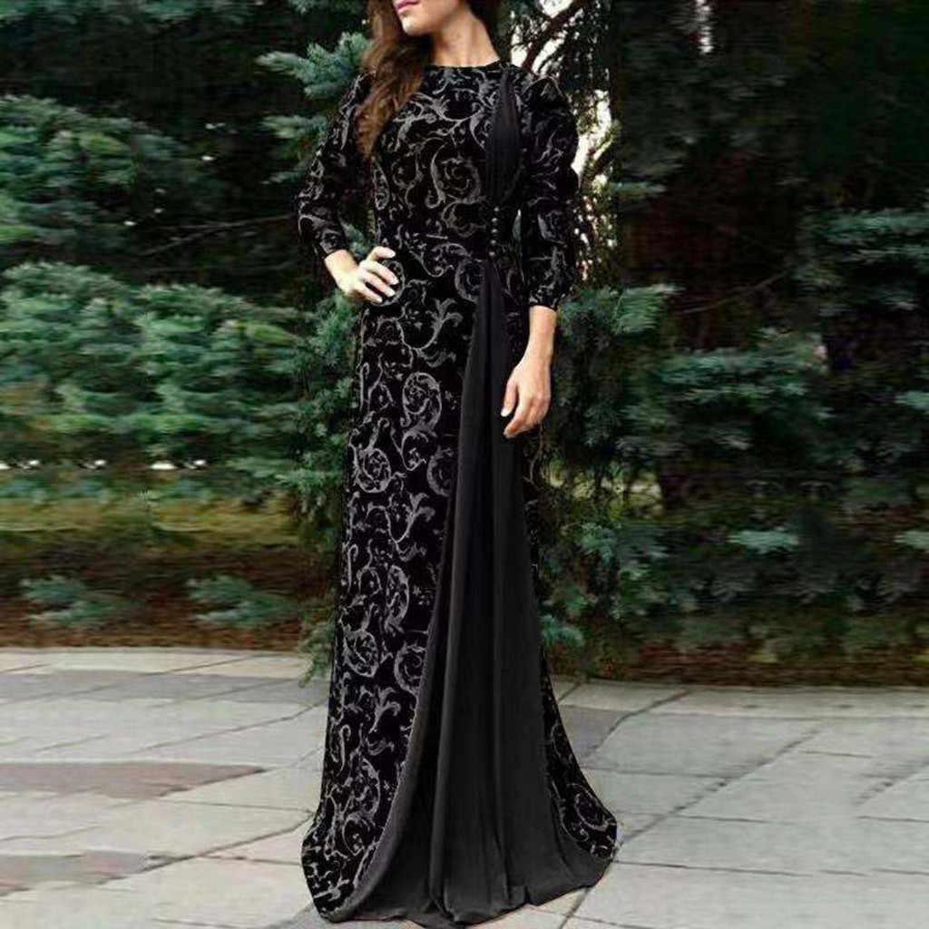 Осеннее женское длинное платье с цветочным принтом в Дубае мусульманское платье исламское длинное платье Вечерние платья оптовая продажа Бесплатная доставка платье Z4