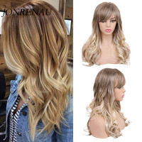 JONRENAU 24 Inches Long Curly Wave Mixed Brown and Blonde Hair Synthetic Wigs Blend 50% Human Hair Wigs with Side Bangs