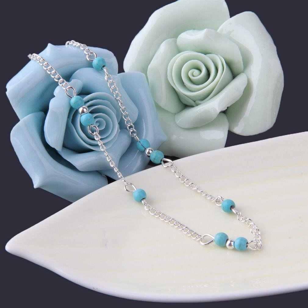 女性模造自然石ビーズシルバー手作りアンクレット足チェーン人格ファッション足首ブレスレット女性宝石類のギフトホット