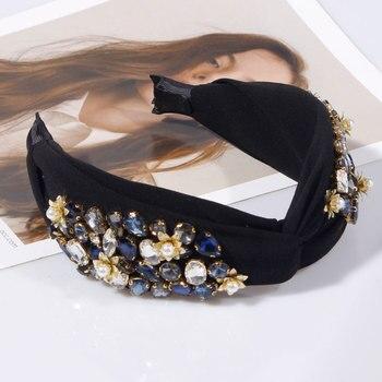 Pearl Flower Crystal Rhinestone Top Knotted  Headbands 3
