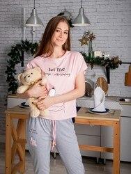 Pijama para mujer Atoff home ZHP 010/5 (Rosa + gris)