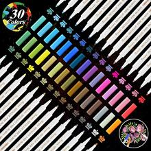 30 Colors Metallic Marker Pens for Scrapbooking Crafts,DIY Photo Album, Art Rock Painting,Metal, Glass, Ceramics
