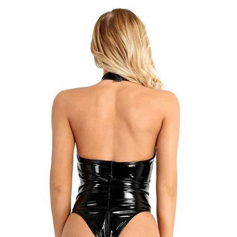 S-4XL Sexy Vrouwen Lingerie PU Leer Open Kruis Rits Hoge coltrui Clubwear Bodysuit Motor Jumpsuit PVC Halloween Cosplay