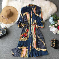 Women's summer print shirt dress long sleeve High waist print dress loose chiffon pleated dress large size fashion dress WA232