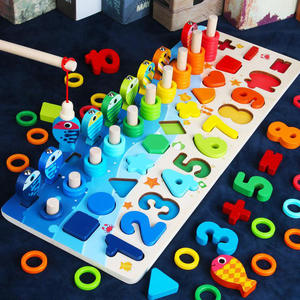 Wooden Toys Puzzle-Toy Log-Board Montessori Fishing-Count-Numbers Matching Kids Educational