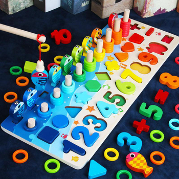 Baby Montessori Math Toys Kids Educational Wooden Toys 5 in 1 Fishing Count Numbers Matching Digital Shape Log Board Puzzle Toy
