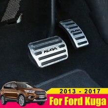 알루미늄 합금 자동차 가속기 가스 페달 브레이크 페달 비 슬립 페달 패드 커버 AT For Ford Kuga Escape 2013 2014 2015 2016 2017