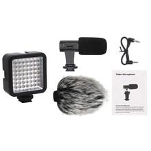 1 шт. микрофон для камеры, для смартфонов iPhone Andoid, Nikon Canon EOS DSLR camera s и 1 шт. Мини DC 3 в 5,5 Вт 49 светодиодный видеокамера