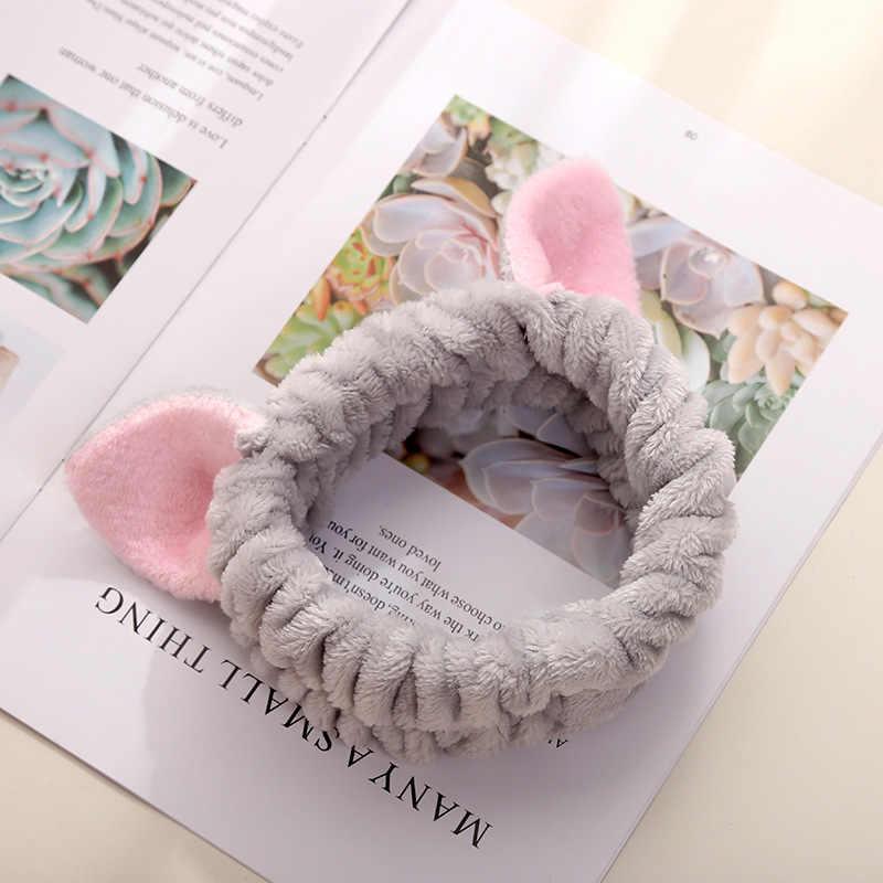 Mujeres niñas lindo Coral vellón gato orejas elásticas diademas suave cómodo lavado cara baño bandas de pelo foto Prop accesorios para el cabello