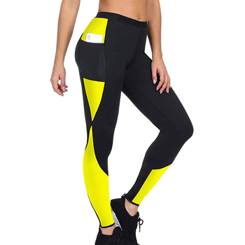 2020 Women Sauna Weight Loss Slimming Pants With Side Pocket Hot Thermo Sweat Leggings Fitness Workout Body Shaper Sporting Pant image