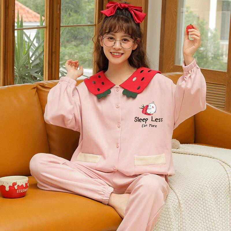 Ночная рубашка, одежда для сна, домашняя одежда, Хлопковая пижама Mujer, штаны с длинными рукавами, пижамы для женщин, женская домашняя одежда, женская пижама большого размера|Комплекты пижам|   | АлиЭкспресс